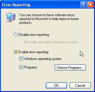 windows xp error reporting