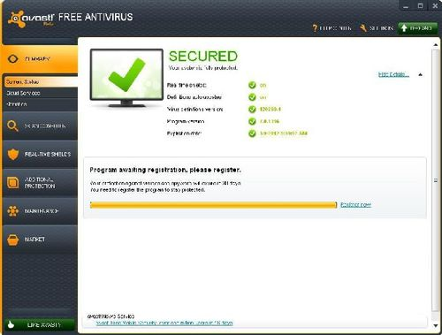 avast registration configure virus protection settings